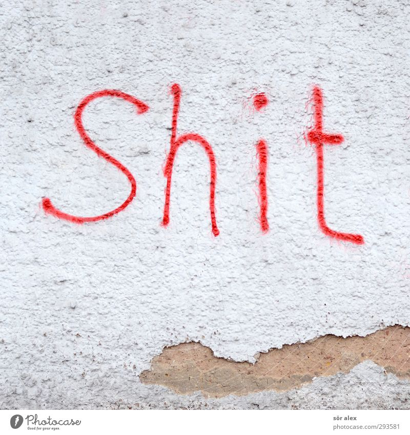 White Red Graffiti Wall (building) Wall (barrier) Facade Characters Transience Sign Youth culture Anger Decline Typography Word Boredom Destruction