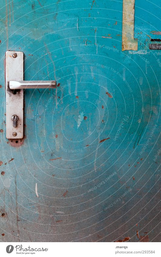 BACKDOOR Door Sign Old Dirty Blue Turquoise Colour Closed Door lock Metal Safety Mysterious Entrance Way out Back door Colour photo Exterior shot Close-up