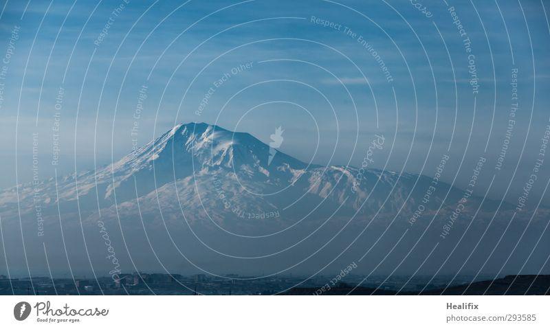 ararat Environment Nature Landscape Sky Clouds Beautiful weather Fog Snow Mountain Peak Snowcapped peak Glacier Volcano Yerevan Armenia Turkey Capital city Cold