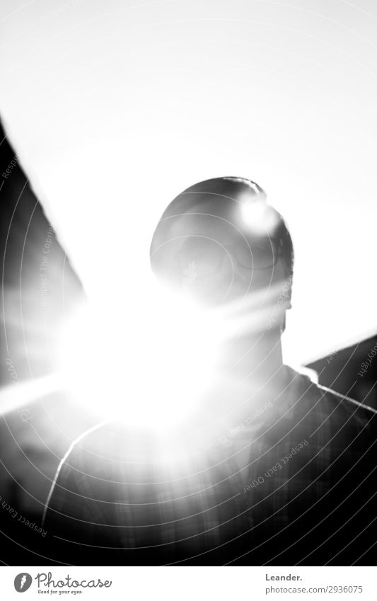 censorship Human being Masculine 1 18 - 30 years Youth (Young adults) Adults Stand Bright Black White Sunlight Silhouette Anonymous Looking Lens flare Dazzle