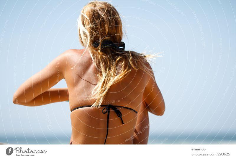 summer ridge Lifestyle Style Skin Vacation & Travel Summer Summer vacation Sun Beach Ocean Human being Woman Adults Body Back 1 Sky Coast Bikini