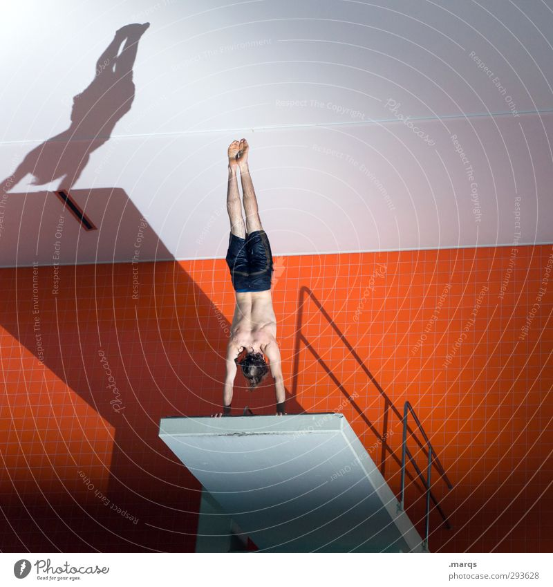 On the Abyss Lifestyle Style Athletic Fitness Sports Sports Training Aquatics Sportsperson Acrobatic Handstand Starting block (swimming) Springboard