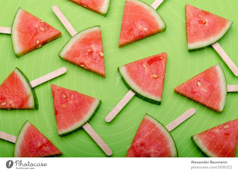 watermelon slices on green background Fruit Healthy Eating Natural Juicy Green Red Colour photo Studio shot