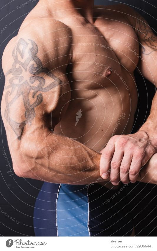 muscular bodybuilder with a tattoo on his arm Lifestyle Entertainment Party Event Sports Fitness Sports Training Sportsperson Parenting Education
