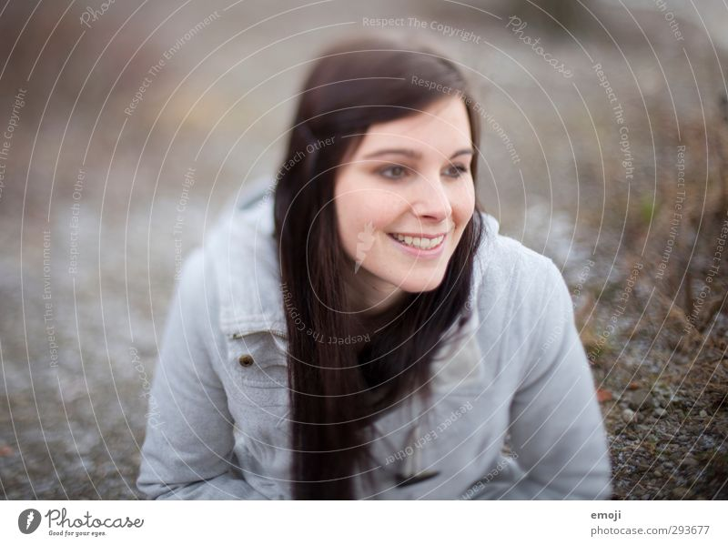 optimism Feminine Young woman Youth (Young adults) 1 Human being 18 - 30 years Adults Brunette Long-haired Beautiful Smiling Colour photo Subdued colour