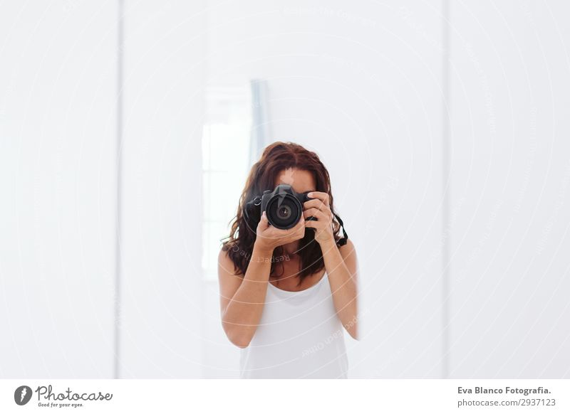 young woman taking a self portrait in the mirror Lifestyle Style Beautiful Summer Chair Mirror Telephone Camera Human being Feminine Young woman