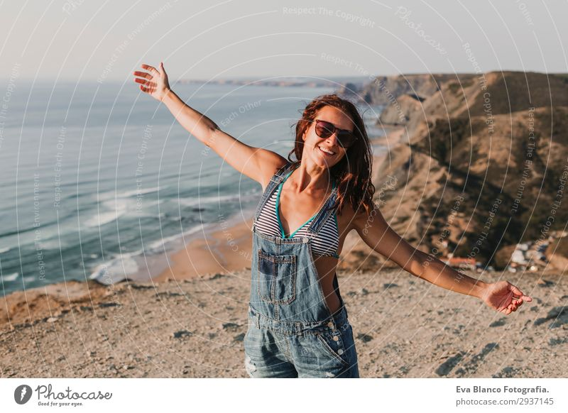 portrait of beautiful happy young woman outdoors Woman Human being Sky Vacation & Travel Nature Youth (Young adults) Young woman Summer Beautiful Landscape Sun