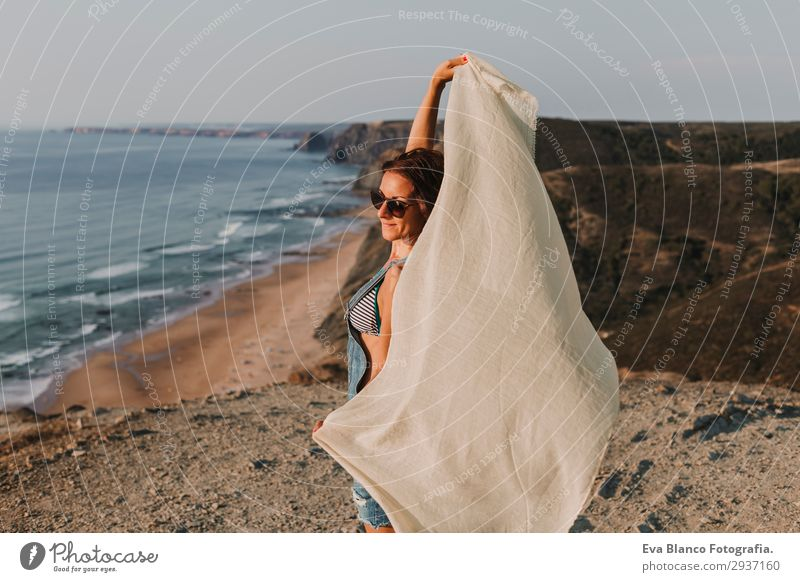 portrait of beautiful happy young woman outdoors Woman Human being Sky Vacation & Travel Nature Summer Beautiful Landscape Sun Ocean Beach Mountain Lifestyle