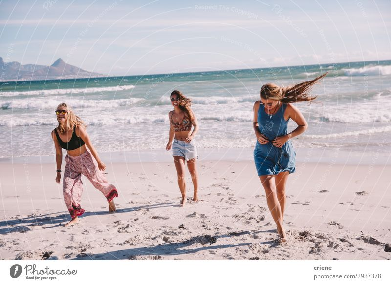 Friends walking on the beach together on vacation Joy Vacation & Travel Summer Beach Ocean Waves Friendship Together Cape Town Exterior shot