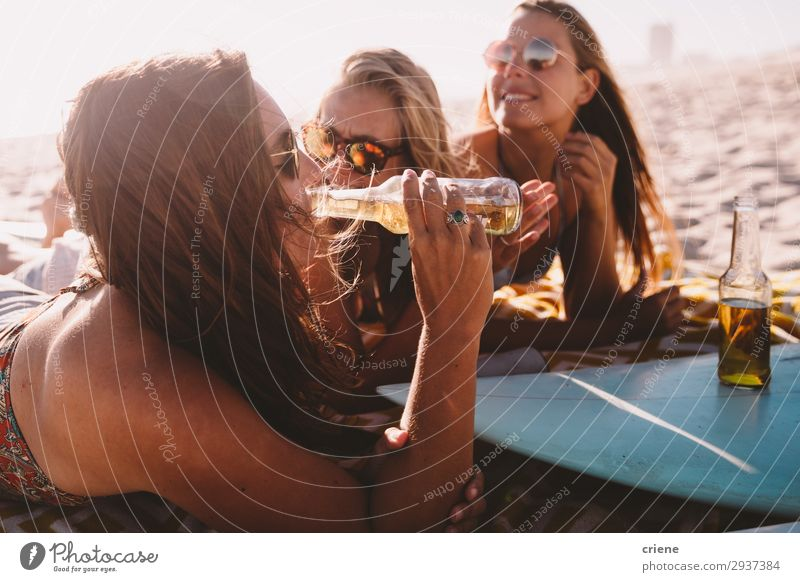 group of friends drinking beer on beach in summer Drinking Alcoholic drinks Beer Bottle Joy Happy Relaxation Vacation & Travel Summer Sun Beach Friendship