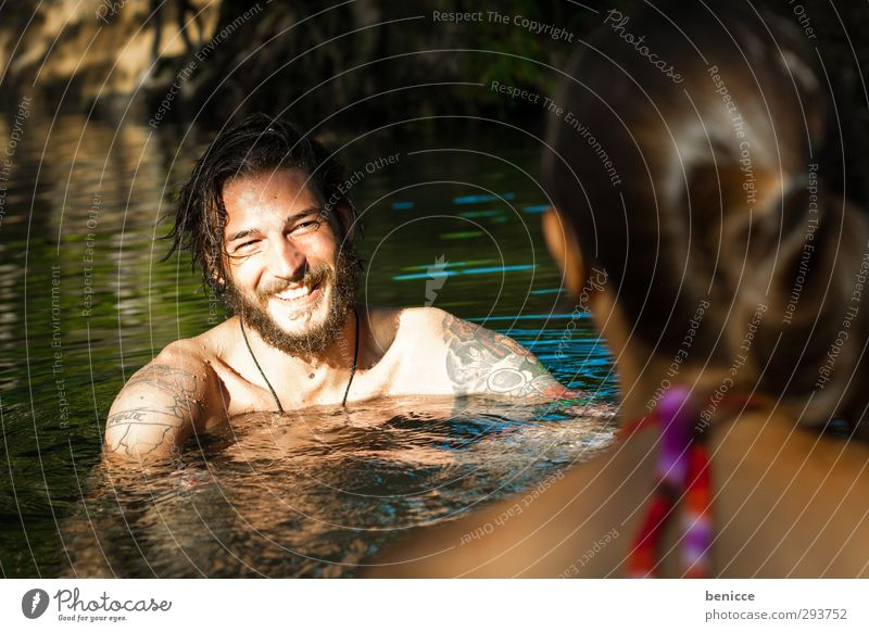 Water Flirt Man Woman Swimming & Bathing Float in the water Summer Laughter Smiling Facial hair Beard Couple In pairs Lovers Infatuation Portrait photograph Sun