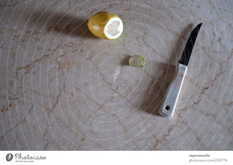 Yellow Food Fruit Living or residing Nutrition Cooking & Baking Kitchen Organic produce Knives Slice Lemon Cutlery Chopping board Marble Tailor