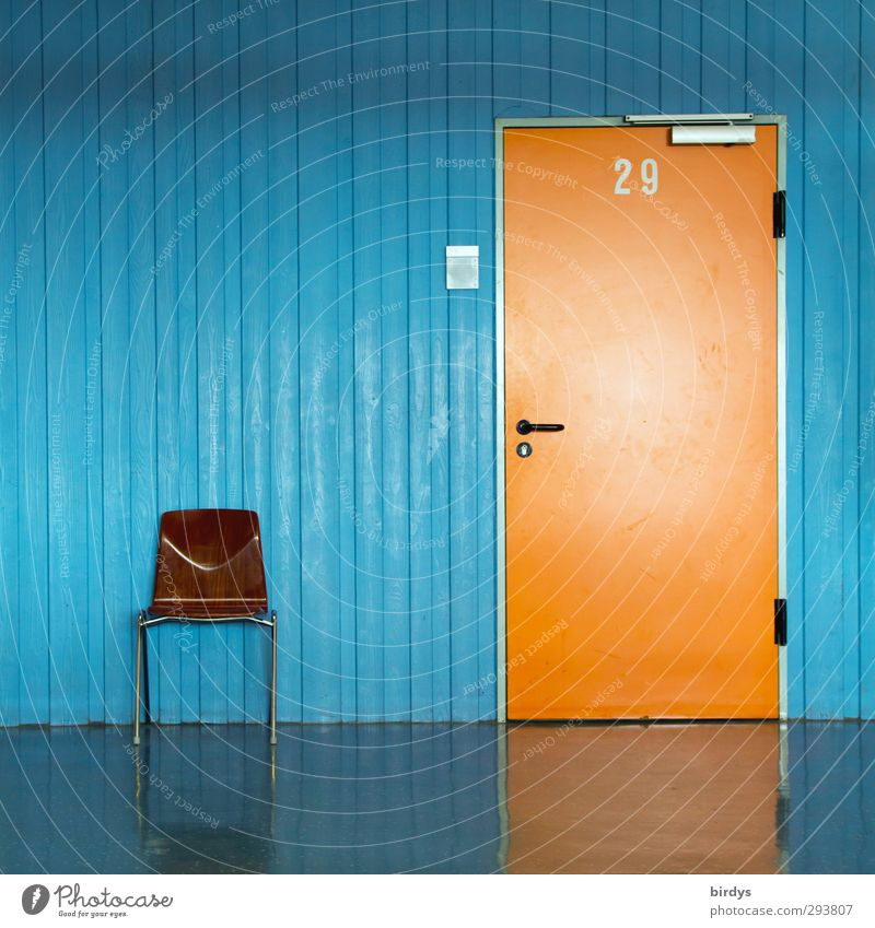 Blue Loneliness Office Orange Door Wait Esthetic Simple Digits and numbers Clean Chair Serene Advice Hallway Expectation Stagnating