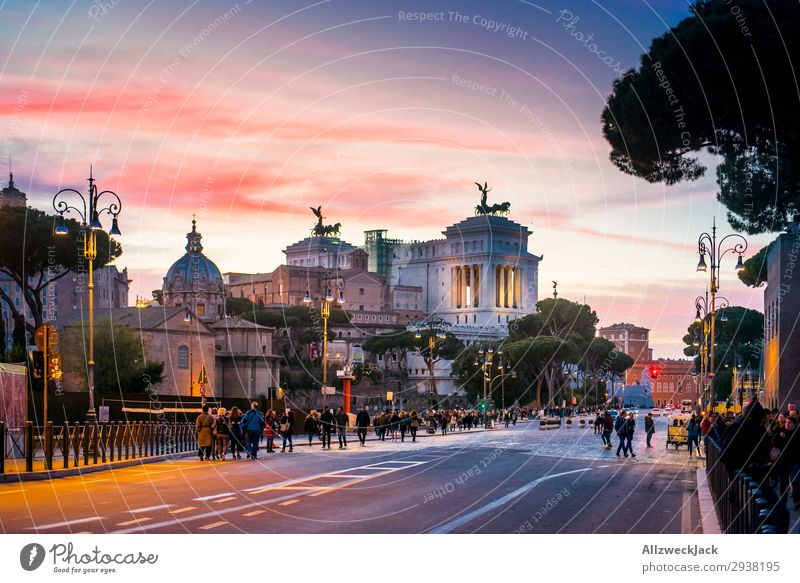 Rome city center at the dawn of sunset Tourism Street City Night shot Vantage point Sunset Twilight Dusk Sky Clouds Tourist Attraction Old town Downtown Italy