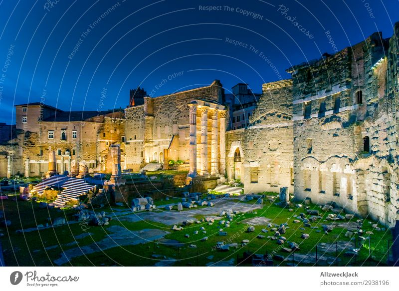 Rome city center excavation site at night Excavation Ruin Lighting Night shot Vantage point Sunset Twilight Sky Cloudless sky Tourist Attraction Old town