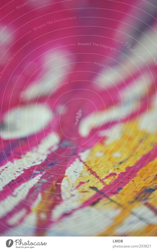 Pink and Yellow Art Stripe Line Diagonal Vertical Daub Patch Inject Intuition Impulse Debauched Spontaneous Circle White Painting (action, artwork)