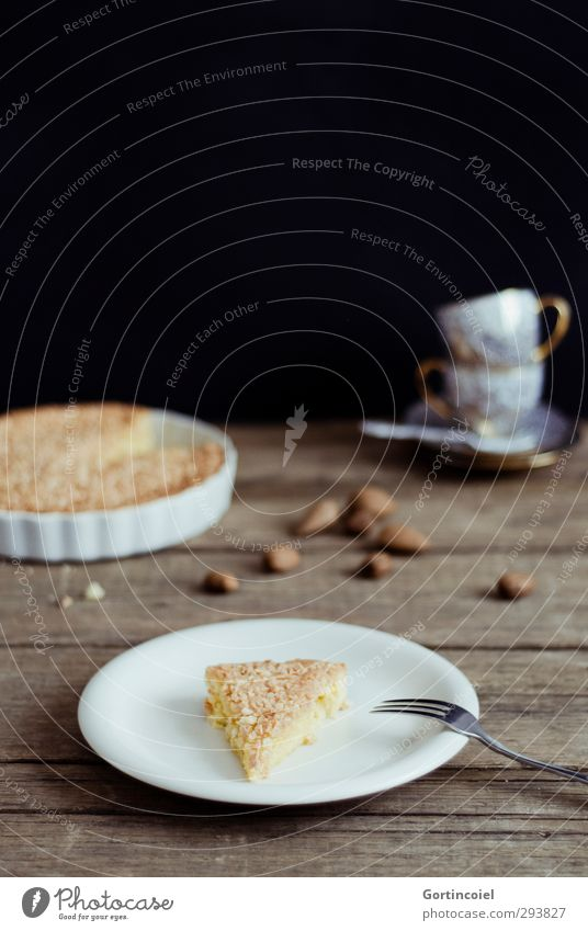 Swedish almond cake Food Dough Baked goods Cake Candy Nutrition To have a coffee Slow food Plate Cup Fork Delicious Sweet Pastry fork Wooden table
