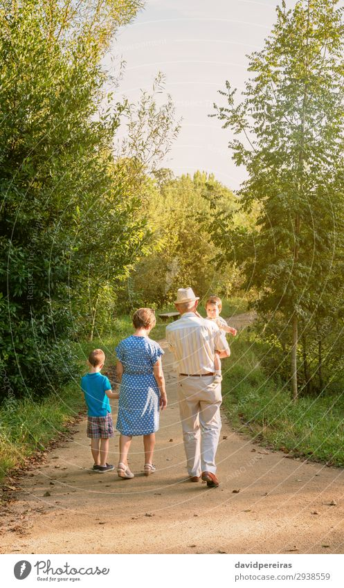 Grandparents and grandchildren walking outdoors Woman Child Human being Nature Man Old Summer Tree Lifestyle Adults Love Family & Relations Boy (child) Together