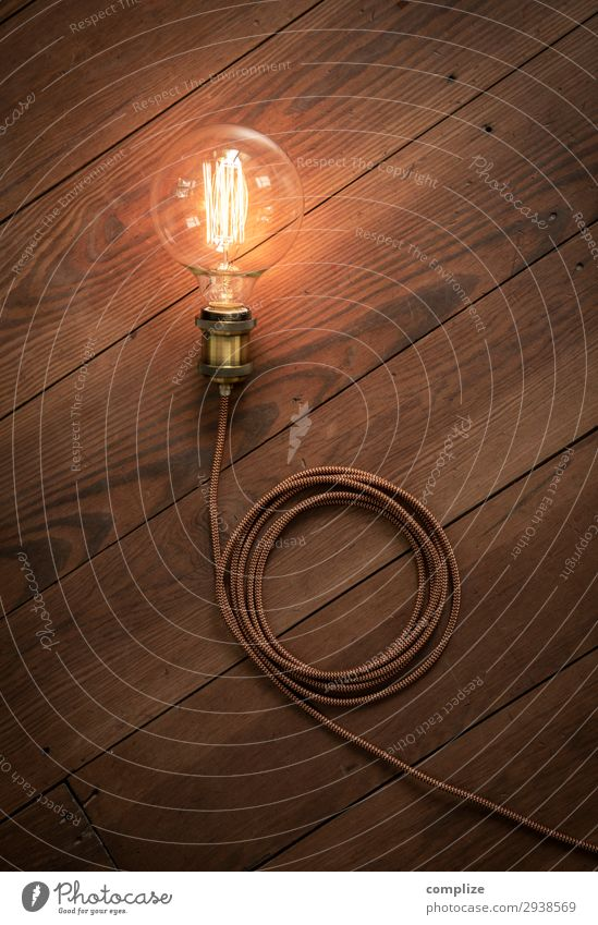 Vintage light bulb with textile cable on wooden floor Lifestyle Living or residing Flat (apartment) House building Redecorate Arrange Interior design Decoration