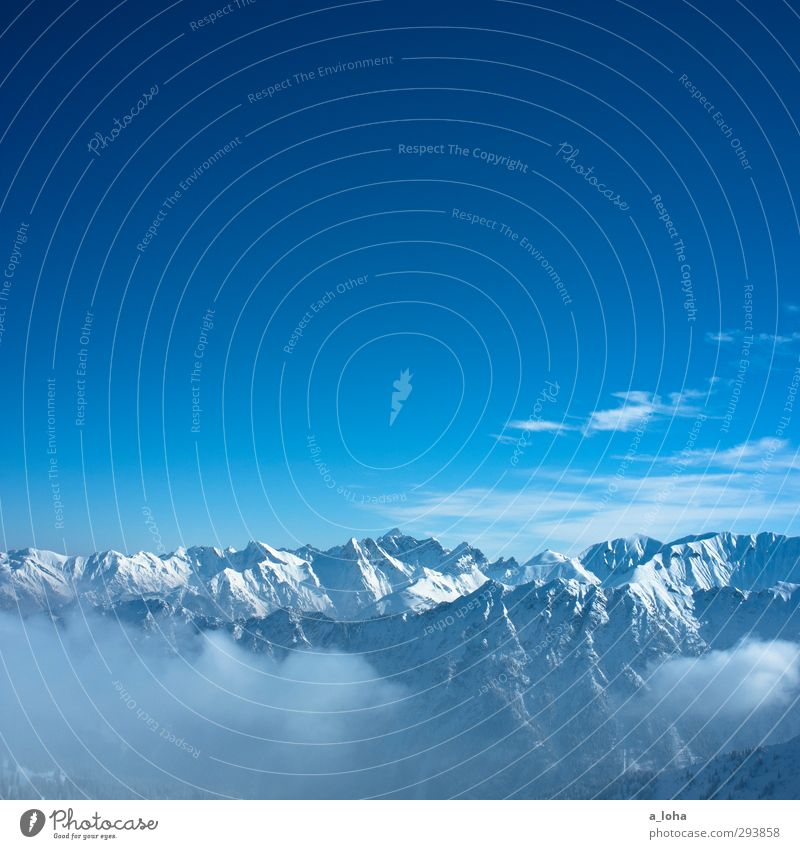 holes to heaven Environment Nature Landscape Elements Air Sky Clouds Horizon Sunlight Winter Climate Beautiful weather Snow Rock Alps Mountain Snowcapped peak