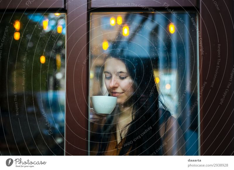 happy with coffee 3 Woman Youth (Young adults) Young woman Beautiful Joy Window Lifestyle Adults Warmth Feminine Feasts & Celebrations Style Freedom