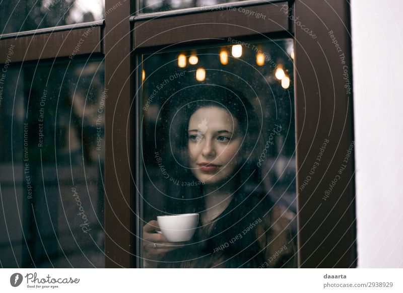 happy with coffee 2 Woman Youth (Young adults) Young woman Beautiful Joy Window Lifestyle Adults Feminine Feasts & Celebrations Style Freedom Moody