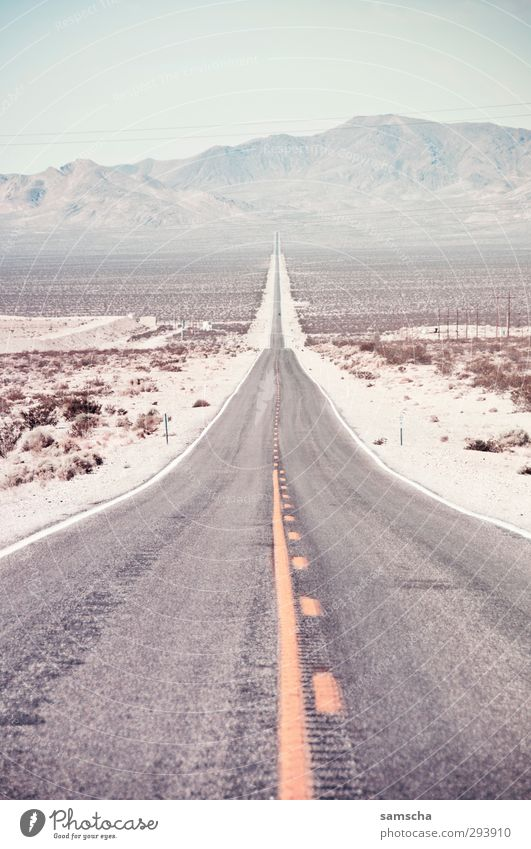 always straight ahead Vacation & Travel Tourism Trip Adventure Far-off places Summer Hill Mountain Desert Transport Traffic infrastructure Passenger traffic