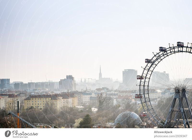Vienna skyline from the Prater Europe Austria Ferris wheel Fairs & Carnivals Fog Haze Skyline Town City trip Sightseeing Vacation & Travel Travel photography