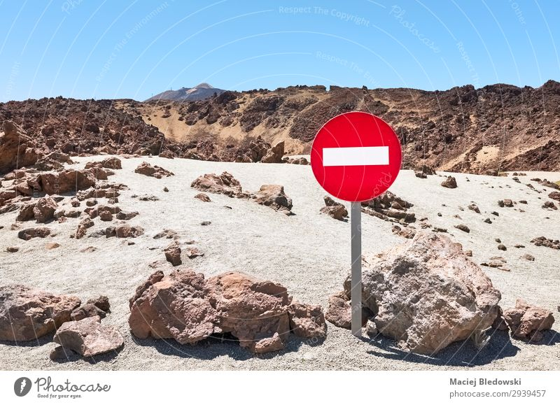 Mars like landscape with No Entry traffic sign. Vacation & Travel Tourism Trip Adventure Far-off places Freedom Mountain Nature Landscape Sand Sky Rock Volcano