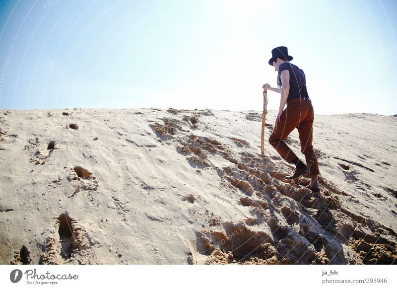 Sun Loneliness Beach Mountain Freedom Sand Hiking Perspective Trip Adventure Change Infinity Climbing Fear of the future Dune Cloudless sky