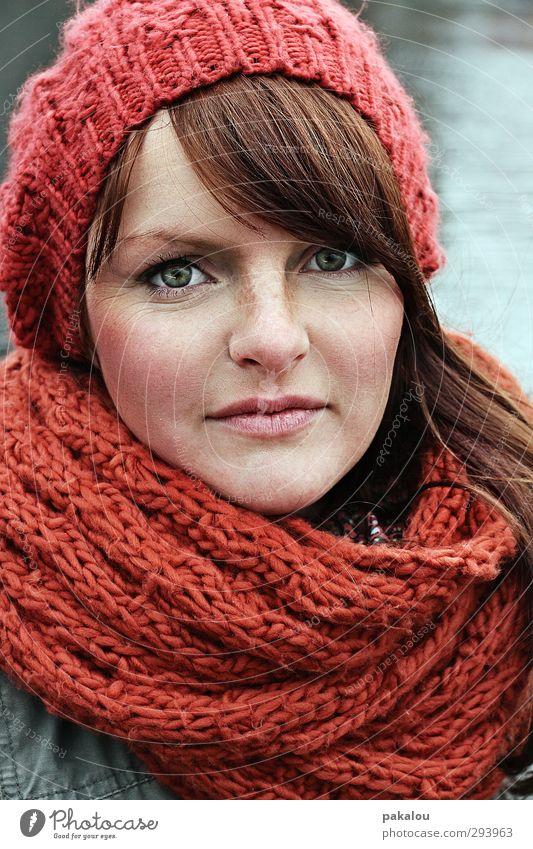 Human being Youth (Young adults) Green Beautiful Red Winter Calm Young woman Face Adults Emotions Hair and hairstyles 18 - 30 years Head Natural Skin