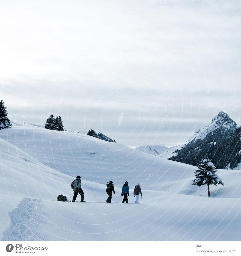 Human being Nature Youth (Young adults) Water Calm Landscape Clouds Winter Adults 18 - 30 years Mountain Snow Freedom Going Group Contentment