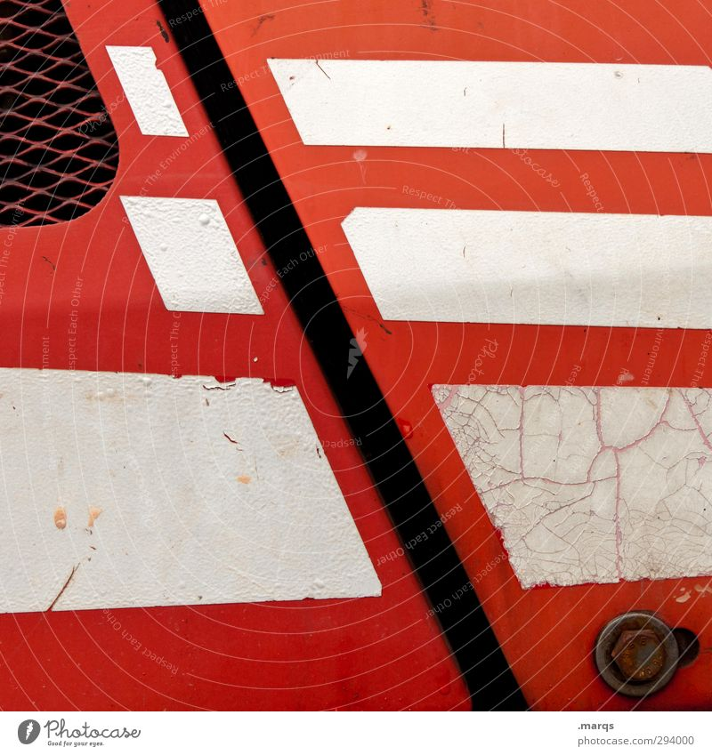 cut Lifestyle Elegant Style Design Metal Line Stripe Old Exceptional Red White Colour Illustration Colour photo Exterior shot Detail Abstract Pattern