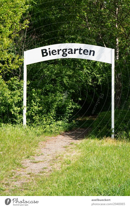 beer garden Lifestyle Leisure and hobbies Summer Restaurant Nature Tree Garden Green Beer garden Germany Entrance Archway Signs and labeling Footpath