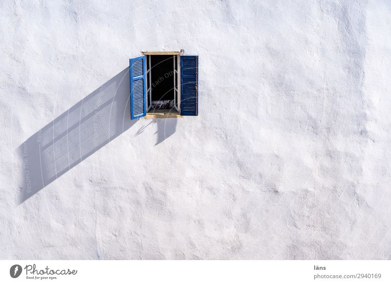 Window to the courtyard Living or residing Flat (apartment) House (Residential Structure) Essaouira Morocco Africa Deserted Wall (barrier) Wall (building)