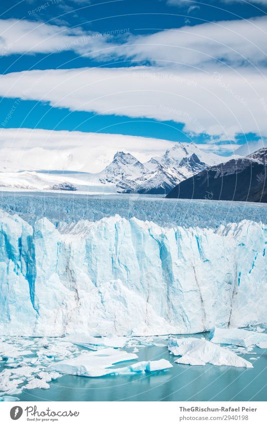 Perito Moreno Glacier Nature Landscape Blue White ice wall Ice floe Iceberg Lake Mountain Snow Argentina Travel photography Valued Tourism Colour photo