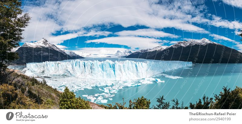 Perito Moreno Glacier Environment Nature Blue Turquoise Ice Patagonia Travel photography Melt Calving Water Cold Clouds Argentina El Calafate Ice floe