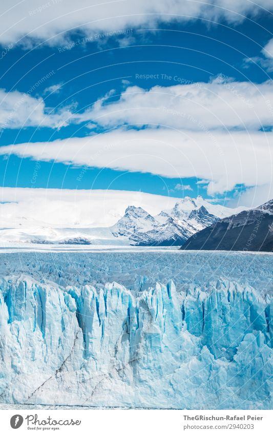 Perito Moreno Glacier Environment Nature Landscape Blue White Snow Ice Argentina Patagonia South America Cold Melt Clouds Mountain Crack & Rip & Tear Point