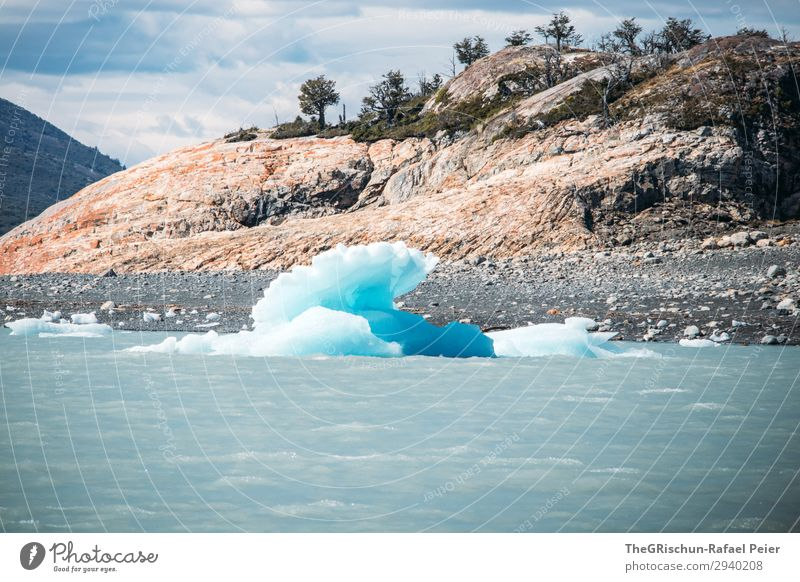 Perito Moreno Glacier Environment Nature Blue White Ice Ice floe Iceberg Rock Float in the water Wet Cold Perito Morena glacier Argentina Stone Colour photo