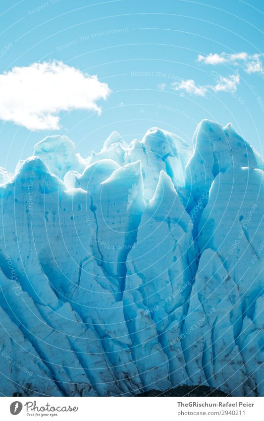 Perito Moreno Glacier Nature Landscape Blue White Clouds Ice Snow Crack & Rip & Tear Structures and shapes Lace Dirty To break (something) Sunlight Sky