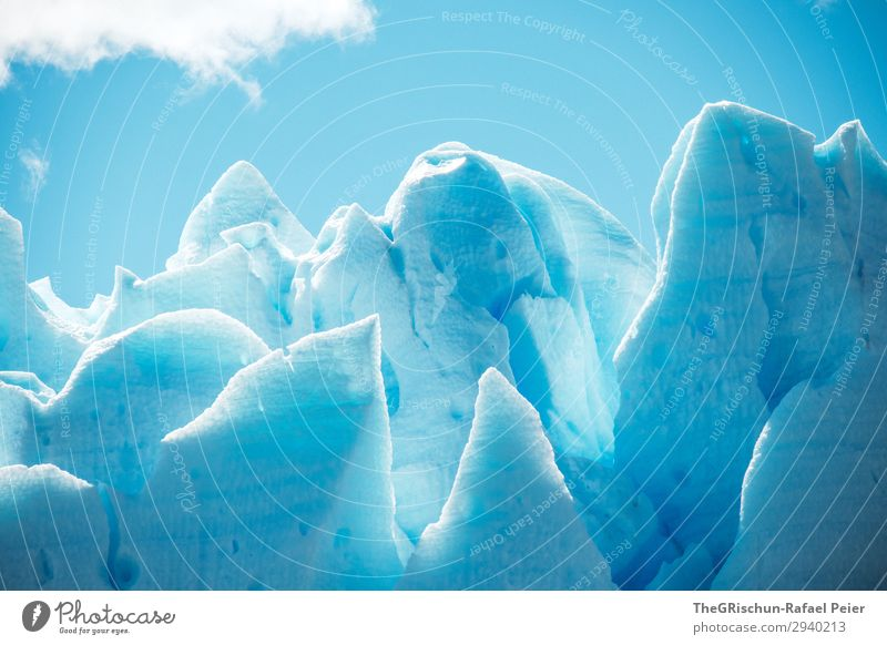ice sculpture Environment Nature Blue White Ice Lace Glacier Perito Moreno Glacier Patagonia Iceberg Light Shadow Pattern Structures and shapes Clouds Blue sky
