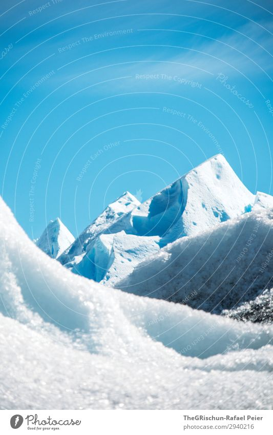 glaciers Environment Nature Blue White Glacier Mountain Peak Perito Moreno Glacier Ice sculpture Snow Iceberg Glacial migration Argentina Colour photo