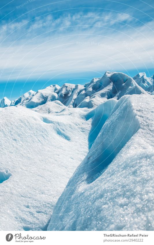 iceberg Nature Blue Turquoise White Glacier Perito Moreno Glacier Ice Snow Structures and shapes Lace Glacial migration Shadow Light Clouds Argentina Patagonia