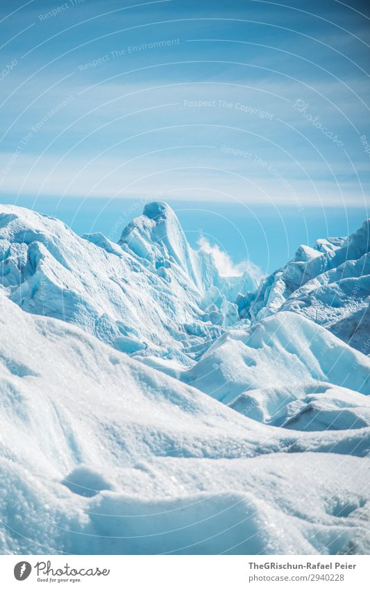 Perito Moreno Glacier Nature Climate Blue Turquoise White Ice Ice sculpture Glacial migration Snow Running sports Clouds Argentina Valued Tourism Colour photo