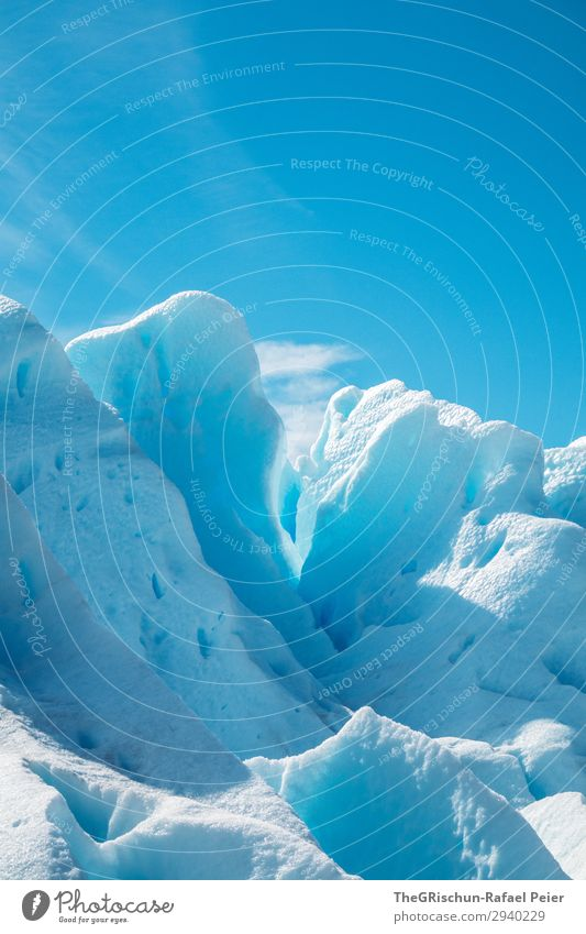 Glacier sculptures Environment Nature Blue Turquoise White Snow Ice Glacial migration Perito Moreno Glacier Shadow Light Contrast Blue sky Argentina