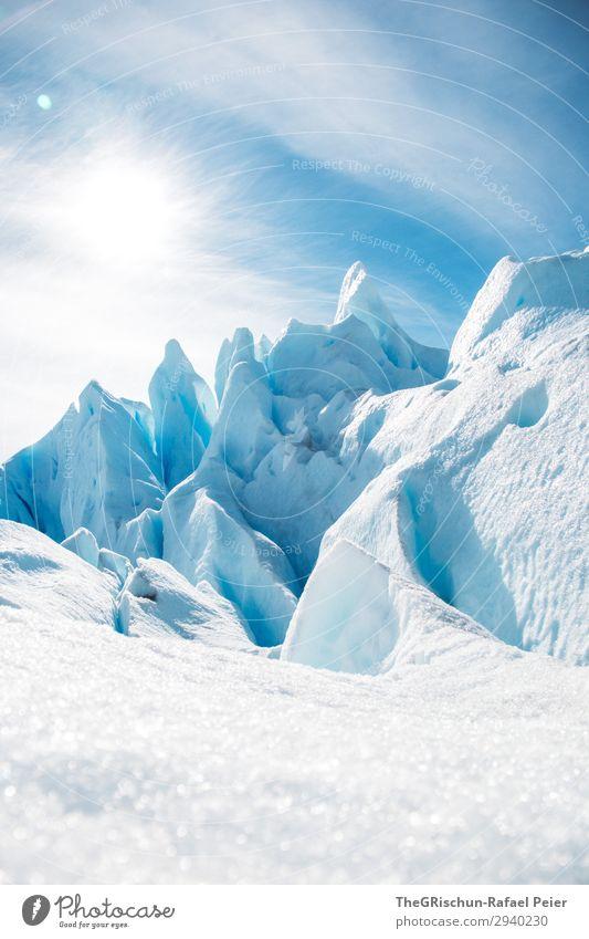 Glacier sculptures Nature Blue Turquoise White Snow Ice Contrast Light Shadow Clouds Sculpture Perito Moreno Glacier Argentina El Calafate Colour photo