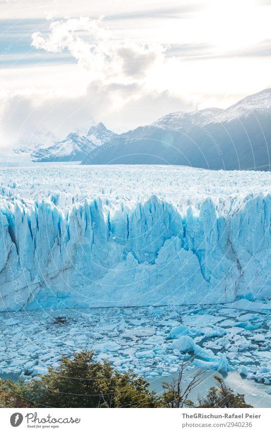 Perito Moreno Glacier Nature Blue Turquoise White Shadow Light Back-light Sunset Ice Snow Ice floe To break (something) Crack & Rip & Tear Mountain Argentina
