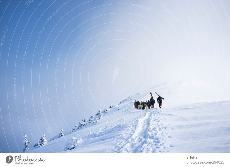 Human being Sky Nature Blue White Landscape Clouds Winter Mountain Environment Movement Snow Sports Lifestyle Group Ice