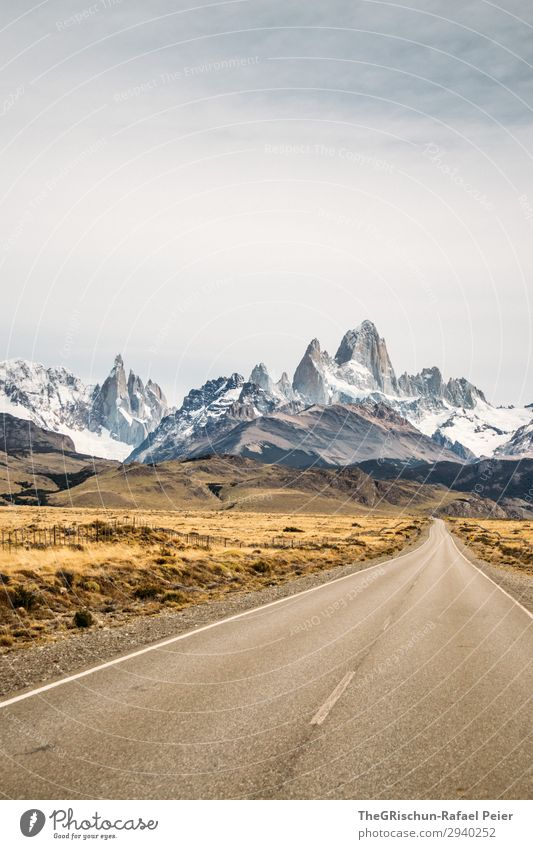 Fitz Roy - Cerro torre Environment Nature Landscape Brown Yellow Gold Gray White Street Mountain Fitz Roy mountain South America Cerro Torre Valued Famousness