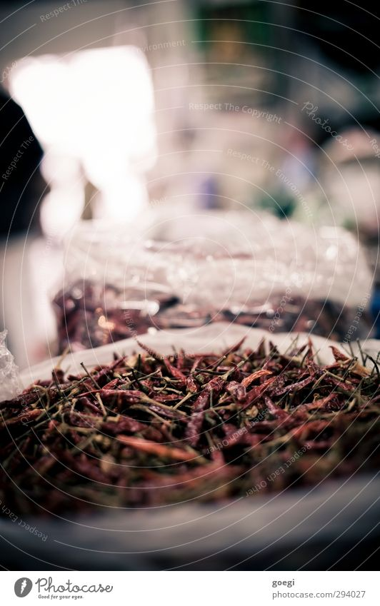 dry and spicy Food Herbs and spices Chili Thai chili Asian Food Eating Tangy Markets Capsaicin Colour photo Interior shot Deserted Shallow depth of field Frying